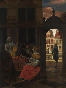 A Musical Party in a Courtyard, 1677 by Pieter de Hooch