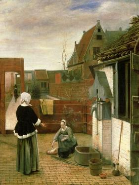 A Woman and a Maid in a Courtyard, c.1660-61 by Pieter de Hooch