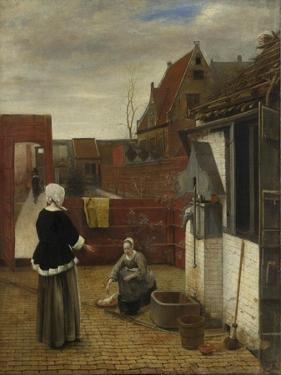 A Woman and Her Maid in a Courtyard, Ca 1661 by Pieter de Hooch