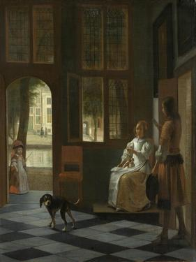 A Woman Directing a Young Man with a Letter, 1670 by Pieter de Hooch