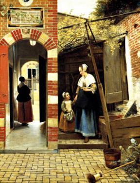 Dutch Courtyard of a House in Delft by Pieter de Hooch