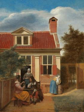 Figures in a Courtyard behind a House, c. 1663-5 by Pieter de Hooch