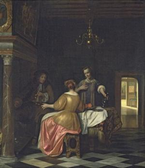 Interior with a Gentleman and Two Ladies Conversing, C.1668-70 by Pieter de Hooch