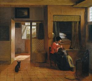 Interior with a Mother Delousing Her Child's Hair (A Mother's Dut), 1659-1660 by Pieter de Hooch