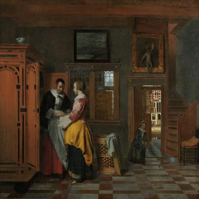 Interior with Women Beside a Linen Cupboard, 1663