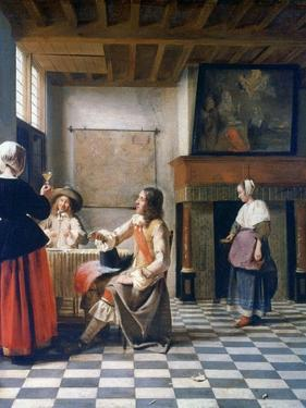 Interior, Woman Drinking with Two Men, and a Maidservant, C1658 by Pieter de Hooch