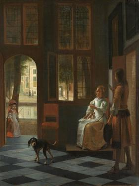Man Handing a Letter to a Woman in the Entrance Hall of a House, 1670 by Pieter de Hooch
