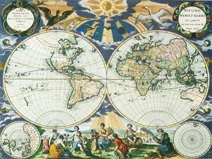 Old World Map 1666 by Pieter Goos