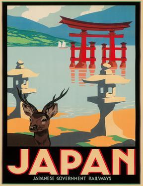 Japanese Government Railways - Hakone Shrine, Lake Ashi, Japan by Pieter Irwin Brown