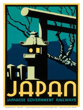 Japanese Government Railways - Night Twilight Shrine Cherry Blossom by Pieter Irwin Brown