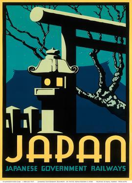 Japanese Government Railways - Night Twilight Shrine Cherry Blossom by Pieter Irwin Brown