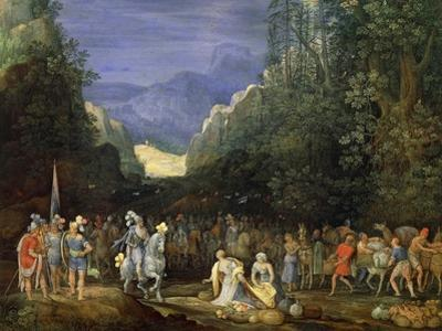 Painting of Mountain Landscape with Return of Jephthah
