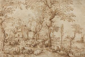 Peasants and Cattle near a Farmhouse, c.1553-54 by Pieter the Elder Brueghel