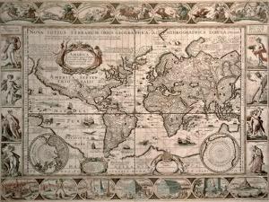 "World Map: ""Nova Totius Terrarum Orbis Geographica Ac Hydrographica Tabula"", 1608 by Pieter van den Keere"