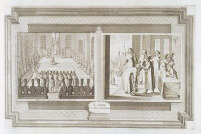 Scenes Depicting an Ambassadorial Audience with the Czar of Russia and Muscovites Declaring an Oath by Pieter Van Der Aa