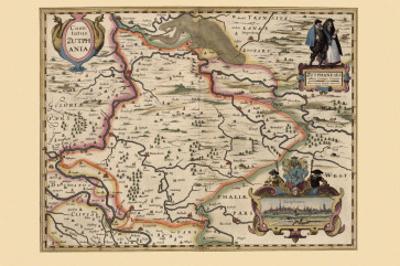 Map of the Area Around Zutphanis, Netherlands by Pieter Van der Keere