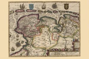Map of the Area East of the Zuiderzee In the Netherlands by Pieter Van der Keere