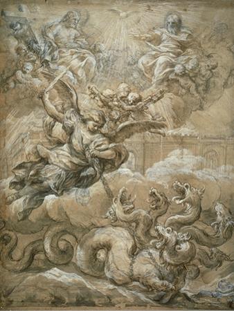 The Holy Trinity with Saint Michael Conquering the Dragon, 1666 by Pietro da Cortona