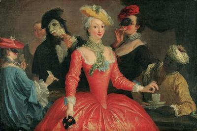Elegant Company in Masque Costume Taking Coffee and Playing Cards