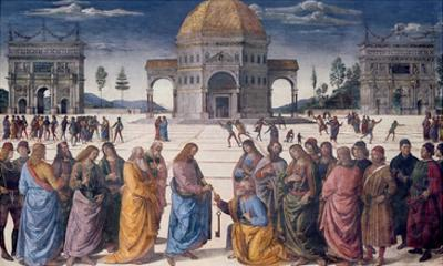 Giving of the Keys to St. Peter, from the Sistine Chapel, 1481 (Fresco)