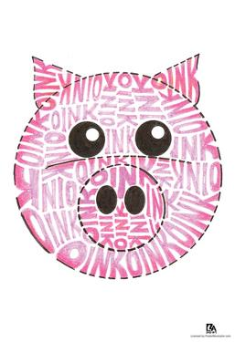 Pig Oink Text Poster