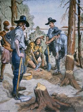 Pilgrim Fathers and Squanto, the Friendly Indian, after an Illustration by C. W. Jefferys, 1926