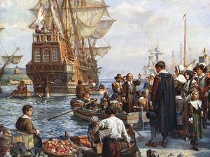 Pilgrim Fathers Boarding the Mayflower