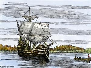 Pilgrim Landing Party from the Mayflower in Plymouth Harbor