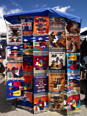 Pillow Covers for Sale at a Handicraft Market, Otavalo, Imbabura Province, Ecuador