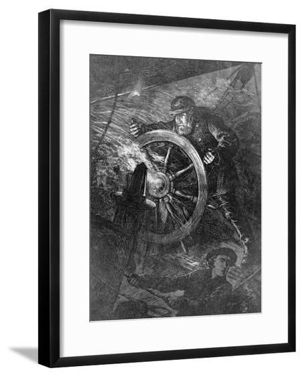 Pilot at Wheel of Ship--Framed Giclee Print