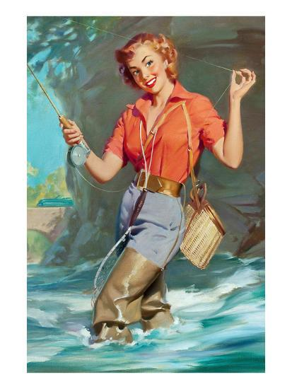 Pin-Up Fly Fishing Prints by William Medcalf at AllPosters.com