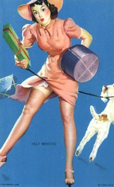 Pin-Up Girl Caught in Dog's Leash, 1940