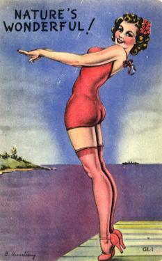 Pin-Up Girl Standing on Dock, 1945