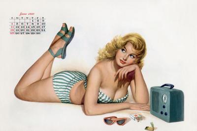Pin Up Listening Radio, from Esquire Girl Calendar 1950 (June)