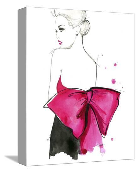 Pink Bow-Jessica Durrant-Stretched Canvas