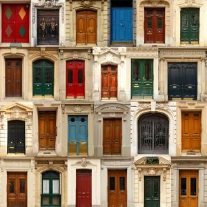 Collage of Old and Colorful Doors from Paris, France. by pink candy