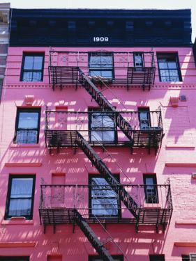 Pink Facade and Stairs in Soho, New York, New York State, USA by I Vanderharst