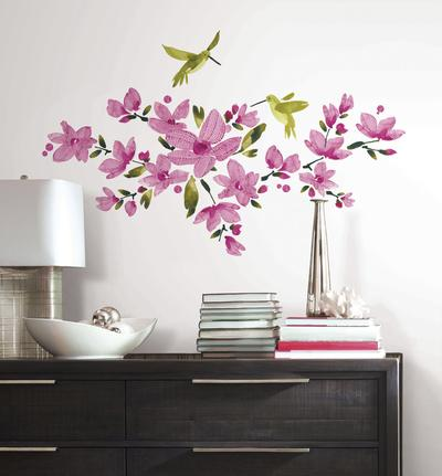 Pink Flowering Vine Peel and Stick Wall Decals & Bird Wall Stickers Posters for sale at AllPosters.com