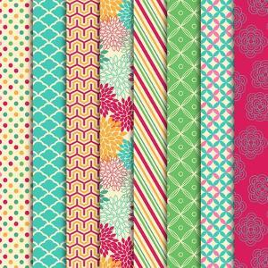 Collection of Bright and Colorful Backgrounds or Digital Papers by Pink Pueblo