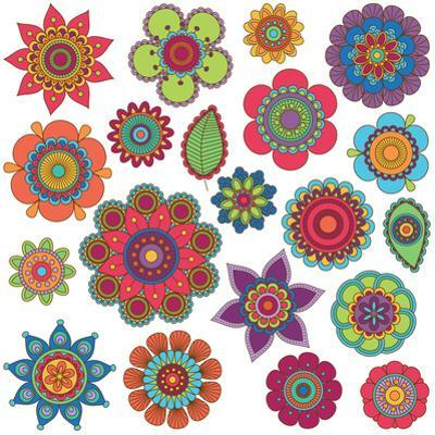 Collection of Doodle Style Flowers or Mandalas by Pink Pueblo