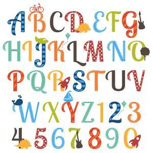 Cute Retro Style Boy Themed Alphabet Set by Pink Pueblo