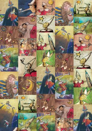 Pinocchio - Vintage Style Book Illustration Collage Poster