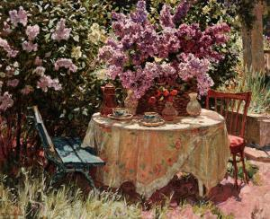 Garden Table with Blue Chair by Piotr Stolerenko