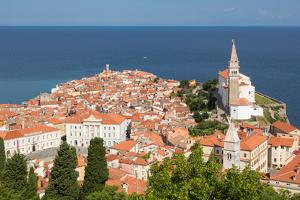 Piran, Primorska, Slovenia. Overeall view of the town and of St. George's cathedral from the Tow...