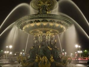 Place De La Concorde Fountains at Night, Paris, France, Europe by Pitamitz Sergio