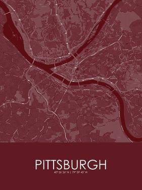 Pittsburgh, United States of America Red Map