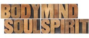 Body, Mind, Soul And Spirit - Vintage Wood Letterpress Printing Block Collage by PixelsAway
