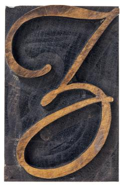 Ornamental Letter Z - Script Font - Isolated Letterpress Wood Type Printing Block by PixelsAway