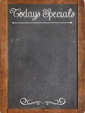 Today Specials - White Chalk Menu Sign on a Vintage Slate Blackboard by PixelsAway
