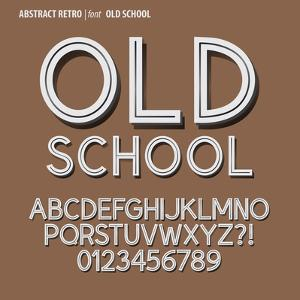 Abstract Retro Alphabet and Digit Vector by Pixoxostudio